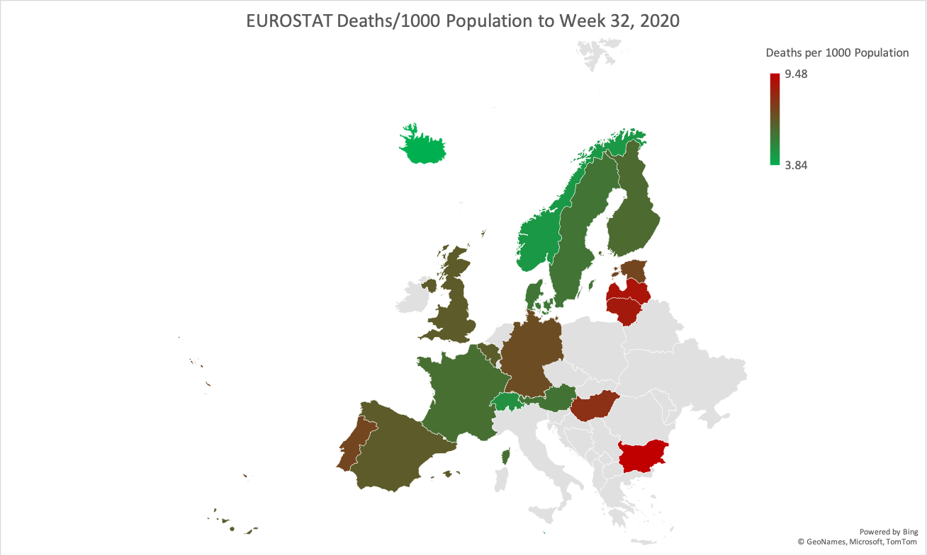 2020 EUROSTAT All Cause Mortality Update (to W26 & W32)